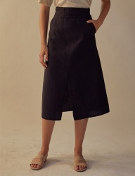 [TEAM SCULPTOR] SLIT LINEN SKIRT BLACK