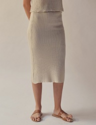 [TEAM SCULPTOR] FITTED LINEN SKIRT NATURAL