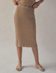 [TEAM SCULPTOR] FITTED LINEN SKIRT BEIGE
