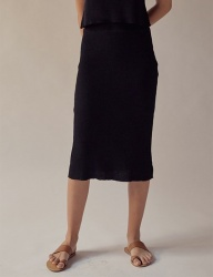 [TEAM SCULPTOR] FITTED LINEN SKIRT BLACK