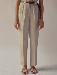 [TEAM SCULPTOR] CLASSIC PEGGED PANTS NATURAL