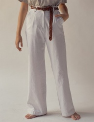 [TEAM SCULPTOR] WIDE LINEN PANTS WHITE