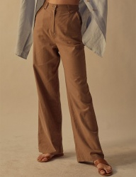 [TEAM SCULPTOR] WIDE LINEN PANTS VINTAGE BROWN