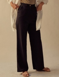 [TEAM SCULPTOR] WIDE LINEN PANTS BLACK