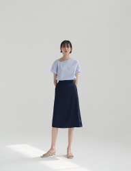 [NONLOCAL] Glossy A-Line Skirt [Navy]