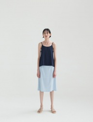 [NONLOCAL] Glossy A-Line Skirt [Skyblue]