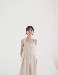 [NONLOCAL] Pleats Dress [Beige]