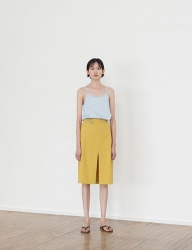 [NONLOCAL] Linen Slit Skirts [Mustard]