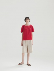 [NONLOCAL] Linen Slit Skirts [Natural]