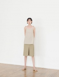 [NONLOCAL] Linen Slit Skirts [Khaki]
