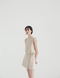 [NONLOCAL] Linen Skirt Pants [Beige]