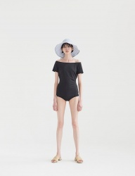 [NONLOCAL] Off- Shoulder Swimsuit [Black]