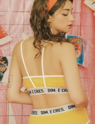 [DIM.E CRES.] DIM. E CRES. LOGO STRING BRA TOP_YELLOW