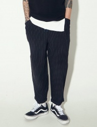 [STONYSTRIDE] STRIPE SEMI BAGGY WIDE PANTS [BLACK]