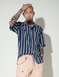 [STONYSTRIDE] 3M BACK STRIPE ALOHA SHIRTS [NAVY STRIPE]