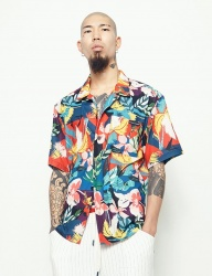 [STONYSTRIDE] 3M BACK STRIPE ALOHA SHIRTS [RED MULTI]