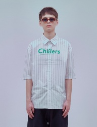 [ENZO BLUES] OVERSIZE CHILLERS SHIRT_WHITE/BLACK