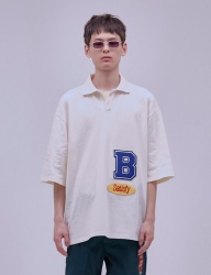 [ENZO BLUES] OVERSIZE WAPPEN POLO T_CREAM