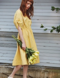 [Sorry, Too Much Love] lady linen dress_yellow