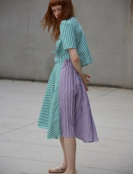 [Sorry, Too Much Love] ribbon stripe dress_green
