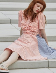 [Sorry, Too Much Love] ribbon stripe dress_orange