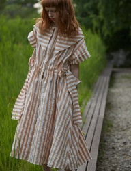 [Sorry, Too Much Love] stripe robe dress_beige