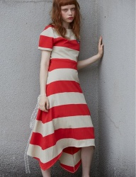 [Sorry, Too Much Love] stripe jersey dress_red