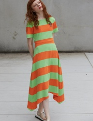 [Sorry, Too Much Love] stripe jersey dress_orange
