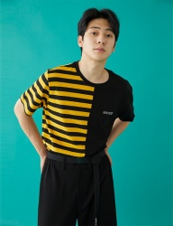 [MSKN2ND] HALF STRIPE SS T-SHIRT YELLOW/BLACK