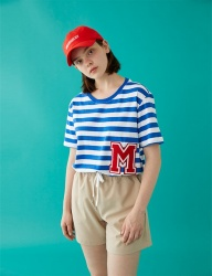 [MSKN2ND] M PATCH STRIPED SS T-SHIRT BLUE