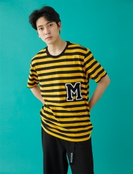 [MSKN2ND] M PATCH STRIPED SS T-SHIRT YELLOW