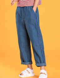 [motivestreet] LINEN DENIM BOYFIT WIDE PANTS LT.BLUE