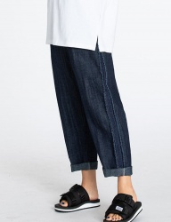 [motivestreet] LINEN DENIM BOYFIT WIDE PANTS BLUE