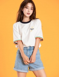 [motivestreet] SUMMER BEAT RINGER TEE WHITE