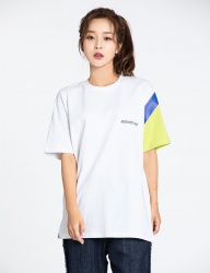 [motivestreet] BLOCK MIX TEE WHITE