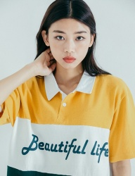 [motivestreet] LINE COLLAR TEE YELLOW