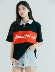 [motivestreet] LINE COLLAR TEE BLACKRED