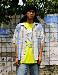 [youthbath] Linen check short sleeve shirt blue