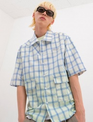 [youthbath] check short-sleeve shirt blue