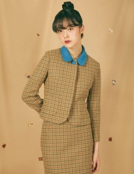 [GOCORI] HOUND TOOTH CHECK SHORT JACKET