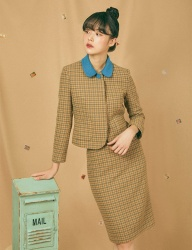 [GOCORI] HOUND TOOTH CHECK HIP BONE SKIRT