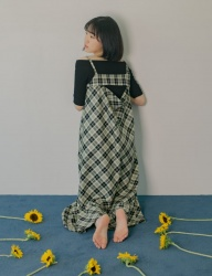 [PHILOCALY] Back drape check dress