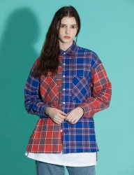 [motivestreet] OVERFIT MIX CHECK SHIRTS BLUERED