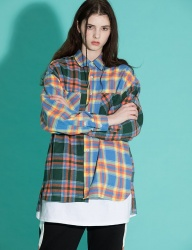 [motivestreet] OVERFIT MIX CHECK SHIRTS YELLOWGREEN
