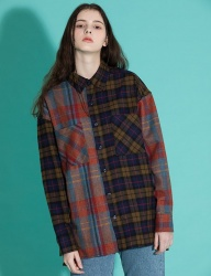 [motivestreet] OVERFIT MIX CHECK SHIRTS ORANGEBROWN