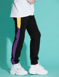 [motivestreet] LINE SWEAT JOGGER PANTS BLKPURPLE