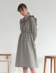 [TARGETTO] FRILL SAILOR ONEPIECE GREY CHECK