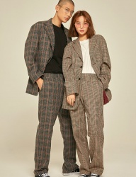 [PRAIRIE] WOOL CHECK WIDE PANTS