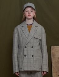 [UNALLOYED] WOOL CHECK DOUBLE JACKET [GREY]