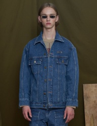 [UNALLOYED] OVERSIZE WASHD DENIM JACKET [BLUE]